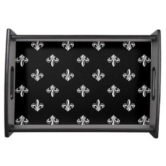 Klassisches Schwarzweiss-Lilien-Muster Tabletts