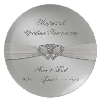 Klassisches Silber-25. Hochzeitstag-Platte Melaminteller