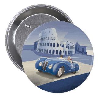 Klassisches Vintages blaues Rennen-Auto Runder Button 7,6 Cm