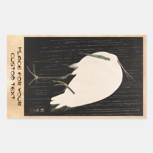Klassisches Vintages japanisches ukiyo-e weiße Kra Rechteckige Aufkleber