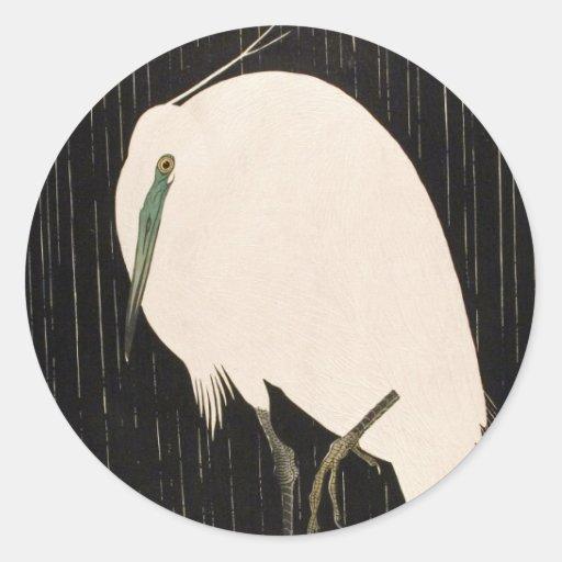 Klassisches Vintages japanisches ukiyo-e weiße Kra Runder Aufkleber
