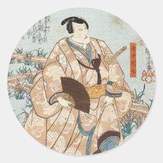 Klassisches Vintages ukiyo-e japanischer Samurai Runder Aufkleber