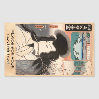 Klassisches Vintages ukiyo-e Samuraiporträt Rechteckiger Aufkleber