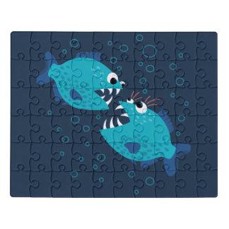 Klatschende blaue Piranha-Fisch-Kinder Puzzle