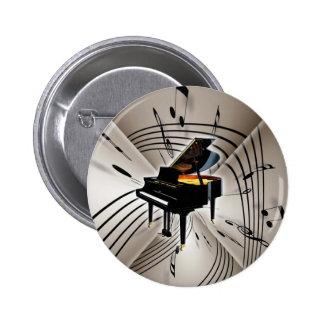 Klavier-Anmerkungen und Personal Runder Button 5,1 Cm