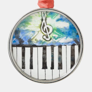 Klavier-Aquarell Silbernes Ornament