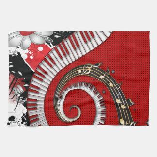 Klavier befestigt Musiknotengrunge-BlumenWirbel Handtuch