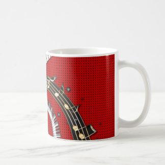 Klavier befestigt Musiknotengrunge-BlumenWirbel Kaffeetasse