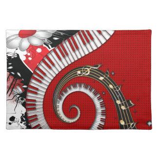 Klavier befestigt Musiknotengrunge-BlumenWirbel Tischset