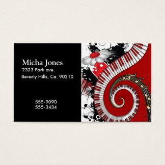 Klavier befestigt Musiknotengrunge-BlumenWirbel Visitenkarte