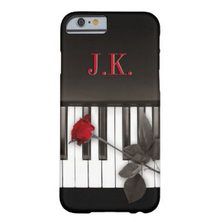 Klavier befestigt Rosen-Musik-Monogramm Barely There iPhone 6 Hülle