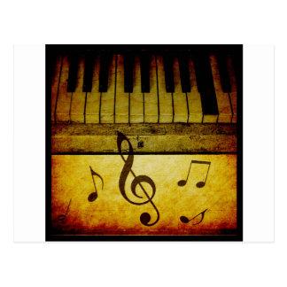Klavier befestigt Vintages Postkarte