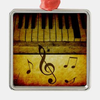 Klavier befestigt Vintages Quadratisches Silberfarbenes Ornament