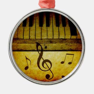 Klavier befestigt Vintages Rundes Silberfarbenes Ornament