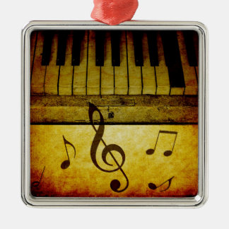 Klavier befestigt Vintages Silbernes Ornament