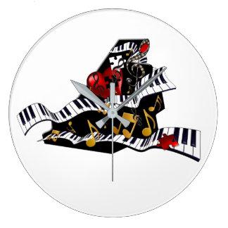 Klavier-Entwurfs-Musik-Dekor-Wanduhr Juleez Große Wanduhr