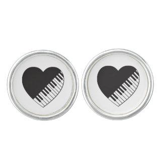 Klavier-Herz-Manschettenknöpfe Manschetten Knöpfe