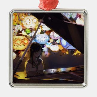 Klavier in der Dunkelheit Silbernes Ornament
