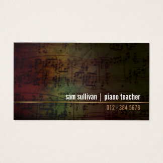 Klavier-Lehrer-Musikergrunge-Musiknoten Visitenkarte