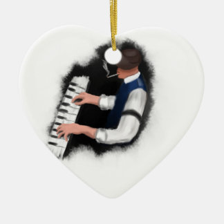 Klavier-Sänger Keramik Herz-Ornament