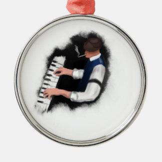 Klavier-Sänger Rundes Silberfarbenes Ornament