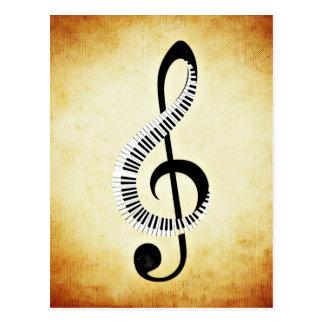 Klavier-Schlüssel auf einem MusikClef Postkarte