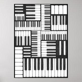 Klavier-Schlüssel im Holzkohlen-Musik-Kunst-Druck Poster
