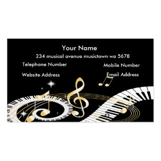 Klavier-Schlüssel und goldener Musiknoten Visitenkarten