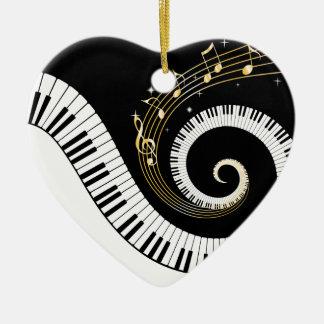 Klavier-Schlüssel-und GoldMusiknoten-Verzierung