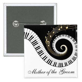 Klavier-Schlüssel-und Musiknoten-Mutter des Quadratischer Button 5,1 Cm