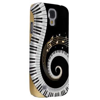 Klavier-Schlüssel wirbelten mit Goldmusikalischen Galaxy S4 Hülle