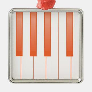Klavier-Schlüsselhintergrund Quadratisches Silberfarbenes Ornament