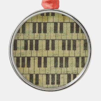 Klavier-Schlüsselmusik-Anmerkung Rundes Silberfarbenes Ornament