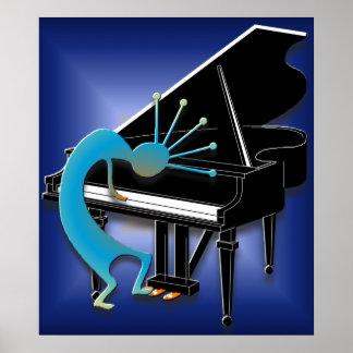Klavier-Spieler im Mitternachtsblau Poster