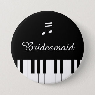 Klavier-Tastatur-Hochzeits-Knopf-Brautjungfer Runder Button 7,6 Cm