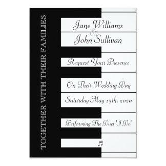 Klavier-Tastatur-Musik-Hochzeits-Einladung Karte