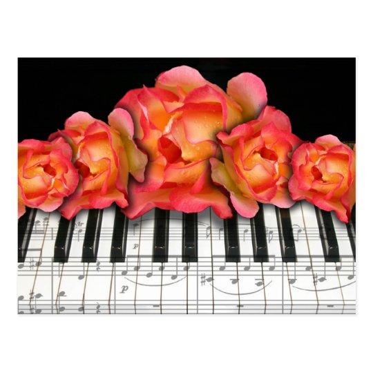 klavier tastatur rosen und musiknoten postkarte zazzle. Black Bedroom Furniture Sets. Home Design Ideas