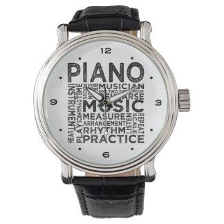 Klavier-Typografie Armbanduhr