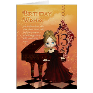 Klavier und Musik-13. Geburtstags-Karte mit Karte