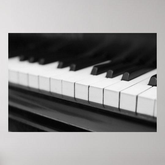 Klaviertasten Schwarz Weiß Fotografie Poster