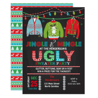 Klebrige hässliche Strickjacke-WeihnachtsParty Karte