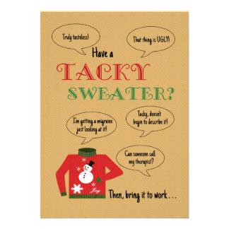 Klebriges Strickjacke-Büro-WeihnachtsParty Personalisierte Ankündigungskarten