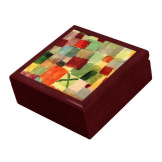 Klee - Aquarell mit dunkelgrünem Kreuz Große Quadratische Schatulle