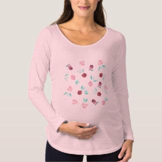 Klee-Blumen-langer Hülsen-MutterschaftsT - Shirt