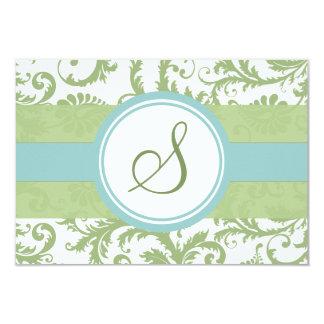 Klee-Grün-und Aqua-Damast-Hochzeit UAWG Karte