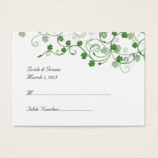 Klee-irische Hochzeits-Platzkarte Visitenkarte