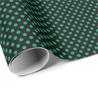 Kleeblatt-Grün auf schwarzem Polka-Punkt Geschenkpapier