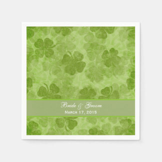 Kleeblatt-grüne irische Hochzeits-Papierservietten Papierserviette