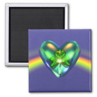 Kleeblatt-Herz St. Patricks Tages Quadratischer Magnet