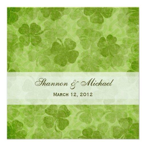 Kleeblatt-irische Hochzeits-Einladung